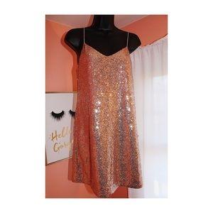 NBD x Revolve Mini Sequin Rose Gold Dress